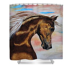 Golden Horse Shower Curtain by Melita Safran