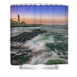 Shower Curtain featuring the photograph Golden Hour At Portland Head Light by Rick Berk