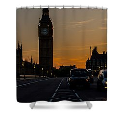 Golden Hour Big Ben In London Shower Curtain