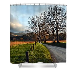 Golden Hour In The Cove Shower Curtain by Debbie Green
