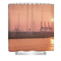 Golden Hour On The Elbe Shower Curtain