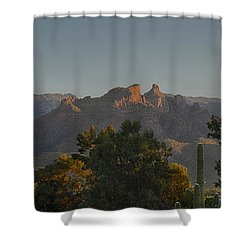Shower Curtain featuring the photograph Golden Hour On Thimble Peak by Dan McManus