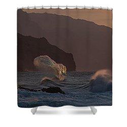 Golden Hour Wave Shower Curtain