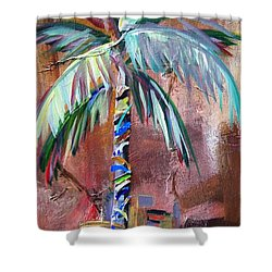 Golden Jasper Palm Shower Curtain