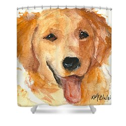 Golden Retriever Watercolor Painting By Kmcelwaine Shower Curtain