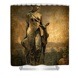 Golden Lady Shower Curtain by Jessica Jenney