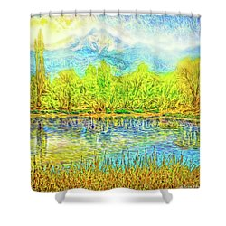 Golden Lake Reflections Shower Curtain