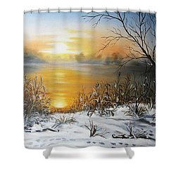 Golden Lake Sunrise  Shower Curtain by Vesna Martinjak