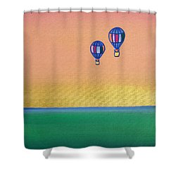 Golden Landscape And Balloons Shower Curtain by Beryllium Canvas