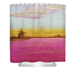 Golden Landscape With Windmill Shower Curtain by Beryllium Canvas