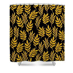 Golden Leaf Pattern Shower Curtain