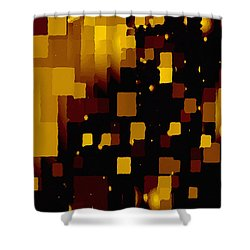 Shower Curtain featuring the digital art Golden Light And Dark  by Shelli Fitzpatrick