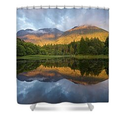 Golden Light At The Torren Lochan Shower Curtain