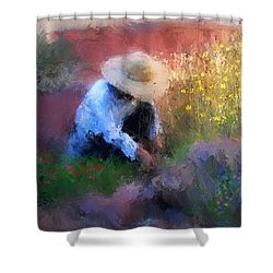 Golden Light Shower Curtain by Colleen Taylor