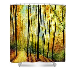 Shower Curtain featuring the painting Golden Light by Hailey E Herrera