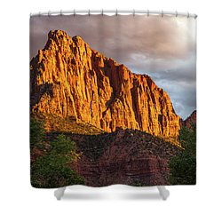 Golden Light On Watchman - Zion Shower Curtain