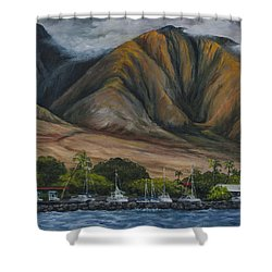 Shower Curtain featuring the painting Golden Light West Maui  by Darice Machel McGuire