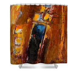 Shower Curtain featuring the painting Golden Lights by Elise Palmigiani