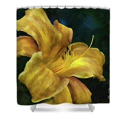 Shower Curtain featuring the digital art Golden Lily by Lois Bryan