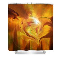 Shower Curtain featuring the digital art Golden Love by Linda Sannuti