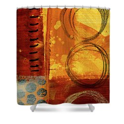 Shower Curtain featuring the painting Golden Marks 10 by Nancy Merkle
