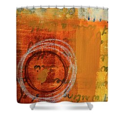 Shower Curtain featuring the painting Golden Marks 11 by Nancy Merkle