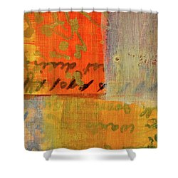Shower Curtain featuring the painting Golden Marks 12 by Nancy Merkle