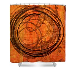 Shower Curtain featuring the painting Golden Marks 9 by Nancy Merkle
