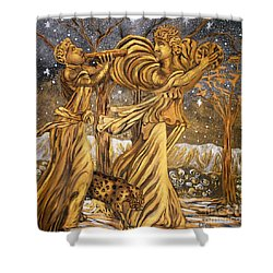 Golden Minstrels. Shower Curtain by Caroline Street