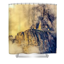 Golden Mist On Cathedral Mountain Shower Curtain