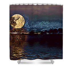 Golden Moon Shower Curtain by Elaine Hunter