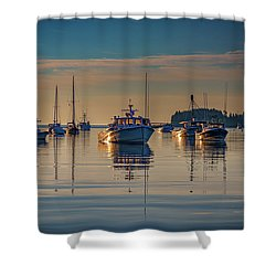 Shower Curtain featuring the photograph Golden Morning In Tenants Harbor by Rick Berk