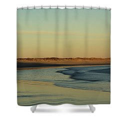 Shower Curtain featuring the photograph Golden Morning On Rhode Island Coast by Nancy De Flon