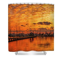Golden Orange Sunrise Shower Curtain
