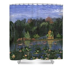 Shower Curtain featuring the painting Golden Pagoda by Jamie Frier