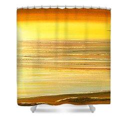 Golden Panoramic Sunset Shower Curtain by Gina De Gorna