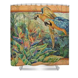Golden Paradise Shower Curtain by Deborah Younglao