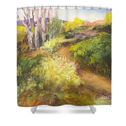 Golden Pathway Shower Curtain by Glory Wood