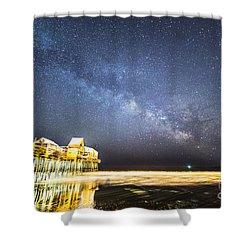 Golden Pier Under The Milky Way Version 1.0 Shower Curtain
