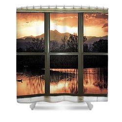 Golden Ponds Bay Window View Shower Curtain