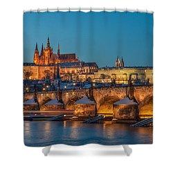 Golden Prague Panorama Shower Curtain