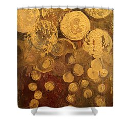 Golden Rain Abstract Shower Curtain