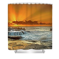 Golden Rays Shower Curtain by James Roemmling