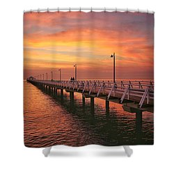 Golden Red Skies Over The Pier Shower Curtain