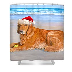 Shower Curtain featuring the painting Golden Retreiver Holiday Card by Karen Zuk Rosenblatt