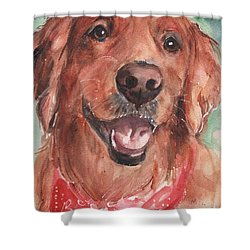 Golden Retriever Dog In Watercolori Shower Curtain by Maria's Watercolor