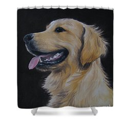 Shower Curtain featuring the painting Golden Retriever Nr. 3 by Jindra Noewi