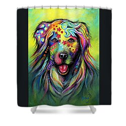 Golden Retriever Shower Curtain by Patricia Lintner