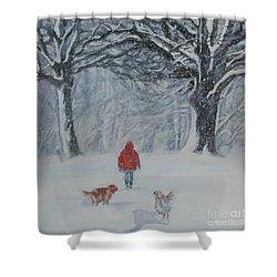 Golden Retriever Winter Walk Shower Curtain