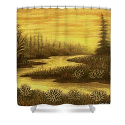 Golden River 01 Shower Curtain